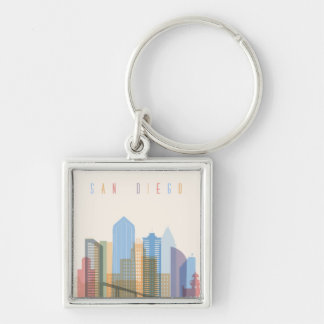 San Diego City Skyline Silver-Colored Square Keychain