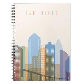 San Diego City Skyline Spiral Note Book