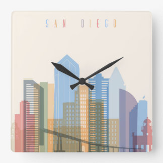 San Diego City Skyline Square Wall Clock