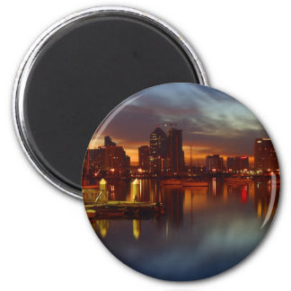 San Diego Docks Night 2 Inch Round Magnet