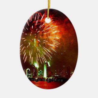 San Diego fireworks Ceramic Ornament