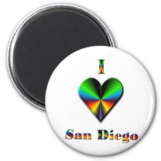 San Diego -- Green Blue & Orange 2 Inch Round Magnet