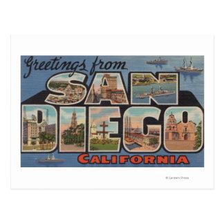 San Diego la Californie - grandes scènes de lettr Carte Postale