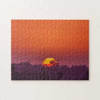 San Diego Orange Purple Trees in Setting Sun Jigsaw Puzzle