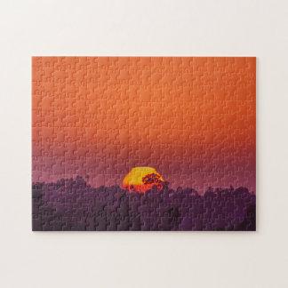 San Diego Orange Purple Trees in Setting Sun Puzzles