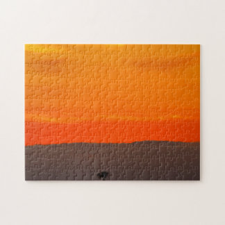 San Diego Orange Red Sunset with Palm Tree Jigsaw Puzzle