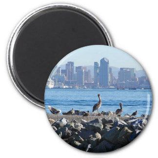 San Diego Pelicans Birds City Skyline Water 2 Inch Round Magnet