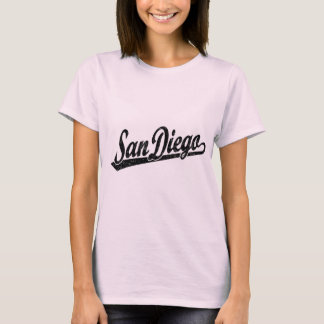 San Diego script logo in black distressed T-Shirt