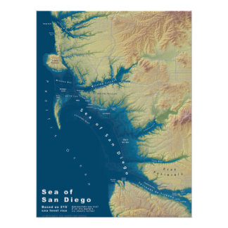 San Diego Sea--Sea Level Rise Map Poster