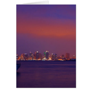San Diego Skyline At Sunset From Harbor Island Card