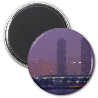 San Diego Skyline City Cities Fog Morning 2 Inch Round Magnet