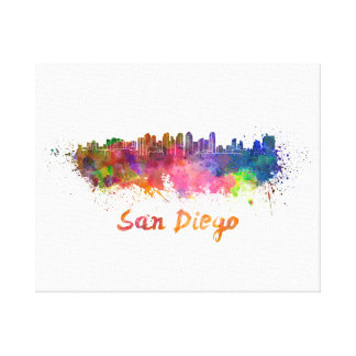 San Diego skyline in watercolor Canvas Print