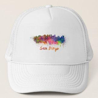 San Diego skyline in watercolor Trucker Hat