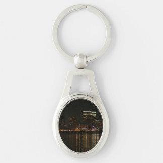 San Diego Skyline Night Silver-Colored Oval Keychain