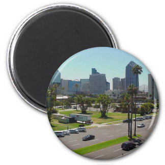 San Diego Skyline Seen From The Maritime Museum 2 Inch Round Magnet