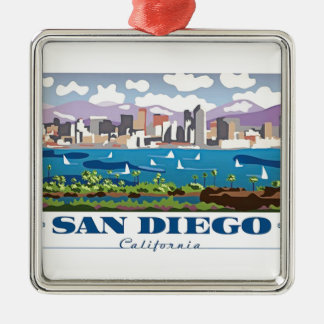 San Diego Skyline Silver-Colored Square Ornament
