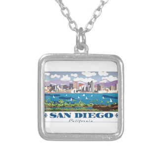 San Diego Skyline Silver Plated Necklace