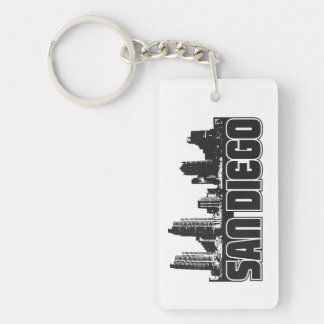 San Diego Skyline Single-Sided Rectangular Acrylic Keychain