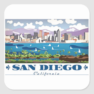 San Diego Skyline Square Sticker