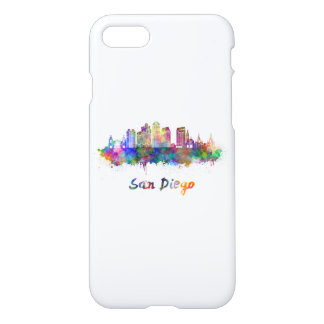 San Diego V2 skyline in watercolor iPhone 8/7 Case