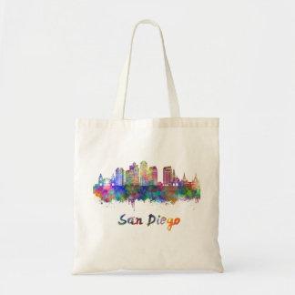 San Diego V2 skyline in watercolor Tote Bag
