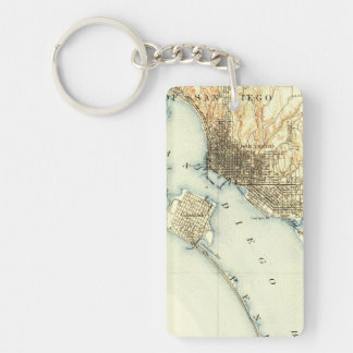 San Diego Vintage Map Single-Sided Rectangular Acrylic Keychain