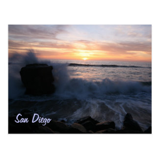 San Diego waves at sunset Postcard
