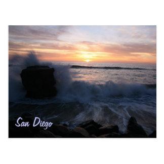 San Diego waves at sunset Postcard