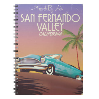 San Fernando Valley California vintage travel post Spiral Notebooks