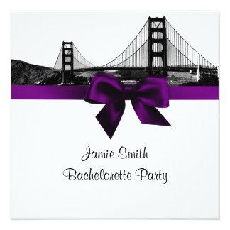 San Fran Skyline Etched BW Purple SQ Bachelorette Card