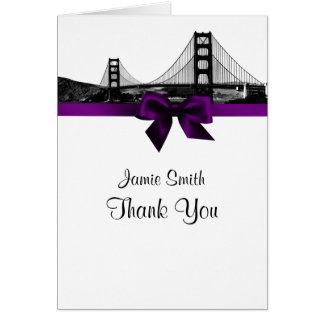 San Fran Skyline Etched BW Purple Thank You #2 Card