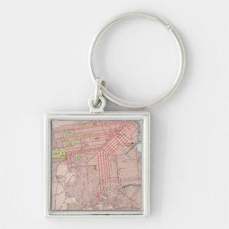 San Francisco 7 Silver-Colored Square Keychain