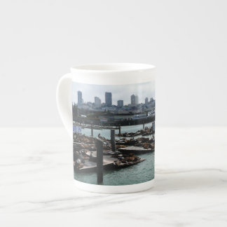 San Francisco and Pier 39 Sea Lions City Skyline Tea Cup
