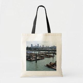 San Francisco and Pier 39 Sea Lions City Skyline Tote Bag