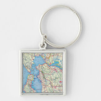 San Francisco and Vicinity Silver-Colored Square Keychain
