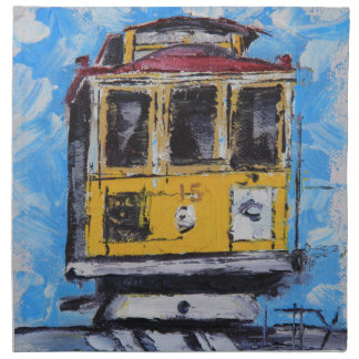San Francisco Art, Cable Car Painting, California Printed Napkin