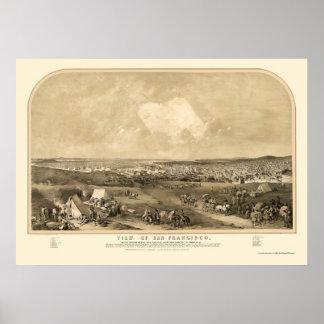San Francisco, CA Panoramic Map - 1851 Poster