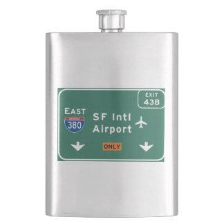 San Francisco CA SFO Airport I-380 E Interstate - Hip Flask