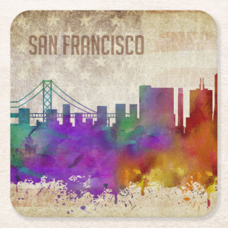 San Francisco, CA | Watercolor City Skyline Square Paper Coaster