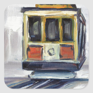 San Francisco Cable Car Square Sticker