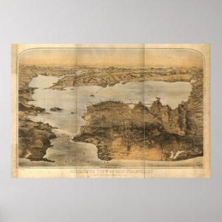 San Francisco California 1876 Panoramic Map Poster