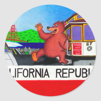 San Francisco California Bear Flag 2 Classic Round Sticker
