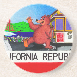 San Francisco California Bear Flag 2 Coaster