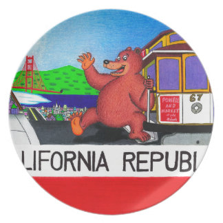 San Francisco California Bear Flag 2 Dinner Plate