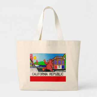 San Francisco California Bear Flag 2 Large Tote Bag