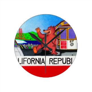 San Francisco California Bear Flag 2 Round Clock
