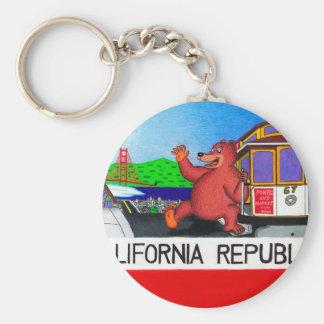 San Francisco California Bear Flag Basic Round Button Keychain