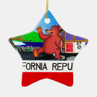 San Francisco California Bear Flag Ceramic Ornament