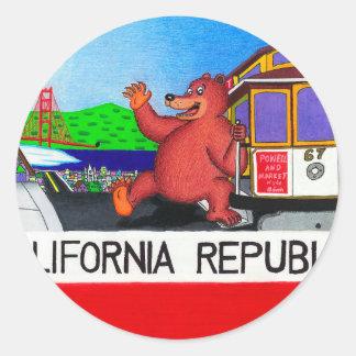 San Francisco California Bear Flag Classic Round Sticker