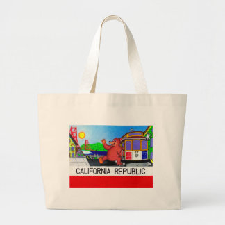 San Francisco California Bear Flag Large Tote Bag